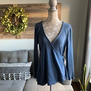 Old Navy Wrap Front Rib Knit Top - Light Blue